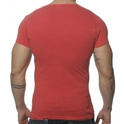 T-Shirt V-Neck Vintage Rouge