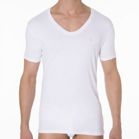 T-Shirt Liquid Cotton Curve Neck Blanc