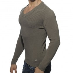 Pullover Ribbed Chest Gris