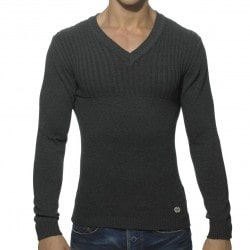 Ribbed Chest Sweater - Charcoal