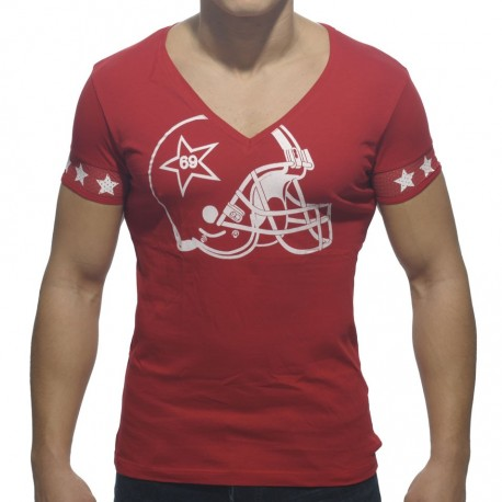 T-Shirt Helmet V-Neck Rouge