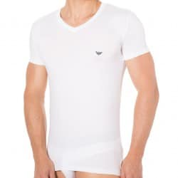 Blue Microfiber T-Shirt - White