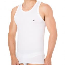 Blue Microfiber Tank Top - White