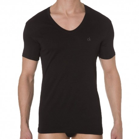 Liquid Cotton Curve Neck T-Shirt - Black