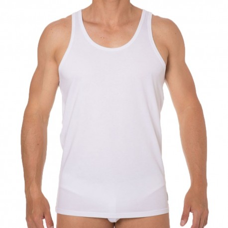 2-Pack CK One Cotton Stretch Tank Tops - White