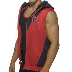 Veste Blocking Color Hoody Rouge - Noir
