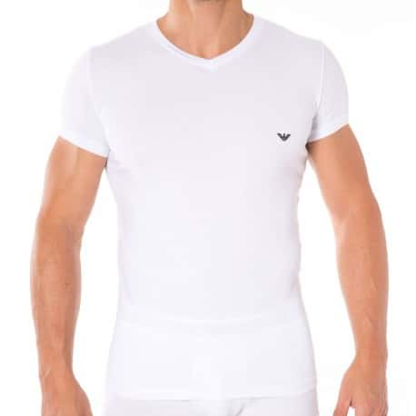 T-Shirt V-Neck Stretch Cotton Blanc