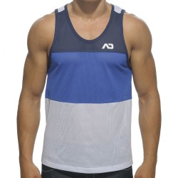 Three Colors Mesh Low Rider Tank Top - Navy - Royal - White