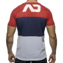 T-Shirt V-Neck Three Colors Mesh Rouge - Marine