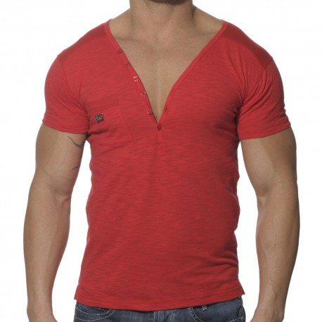 T-Shirt Button Down Rouge