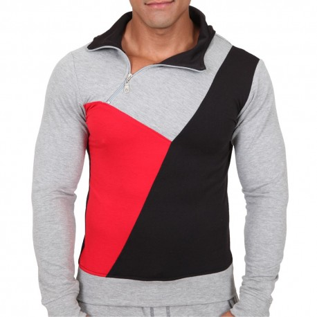 Sweat-Shirt Hoodie Elite Gris - Rouge - Noir