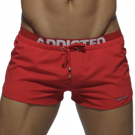 Short de Bain Double Waistband Rouge