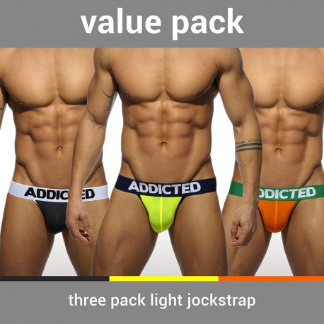 Lot de 3 Jock Straps Jaune - Orange - Gris