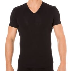T-Shirt V-Neck Jersey Cotton Stretch Noir