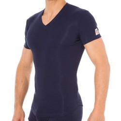 T-Shirt V-Neck Jersey Cotton Stretch Marine