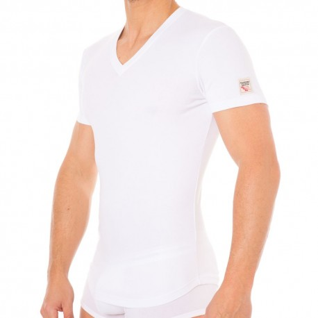 T-Shirt V-Neck Jersey Cotton Stretch Blanc