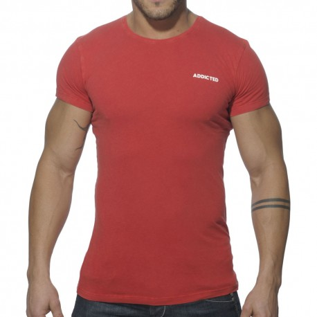 T-Shirt Col Rond Vintage Rouge