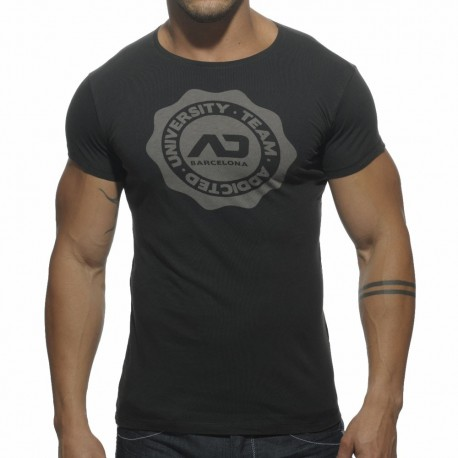 T-Shirt Stamp Col Rond Noir