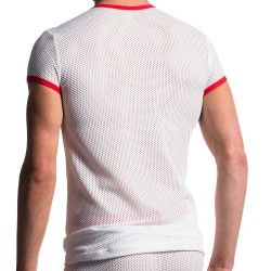 T-Shirt V-Neck M602 Blanc - Rouge