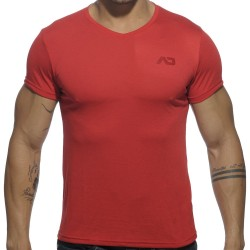 T-Shirt V-Neck Basic Rouge