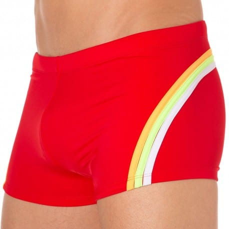 Shorty de Bain Lycra Rainbow Rouge