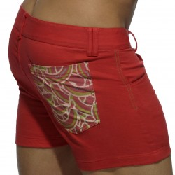 Short Print Mesh Pocket Rouge
