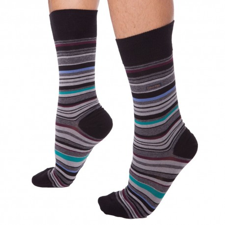 Chaussettes Kevin - Noir - Rayures