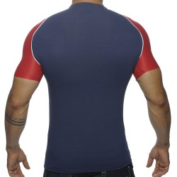 T-Shirt V-Neck Raglan Marine - Rouge
