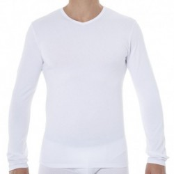 2-Pack X-Temp Long-Sleeved V-Neck T-Shirts - White