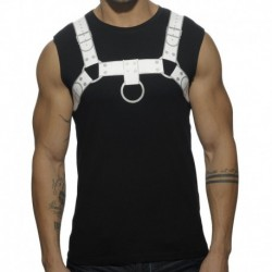 Addicted Fetish Harness Tank Top - Black - White