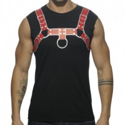 Fetish Harness Tank Top - Black - Red