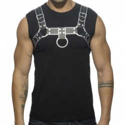 Fetish Harness Tank Top - Black - Silver