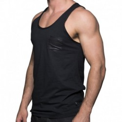 Slick Pocket Tank Top - Black