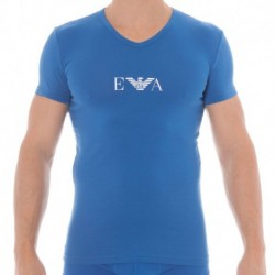 Colored Basic Stretch Cotton T-Shirt - China Blue