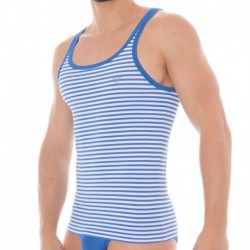 Trendy Sailor Striped Micro Tank Top - White - China Blue