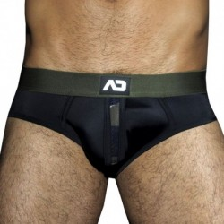 AD Fetish Camouflage Panel Bottomless Brief - Black
