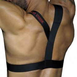 AD Fetish Rubber Harness - Black - Red