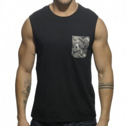 Addicted Does Size Matter Detail Pocket Tank Top - Black
