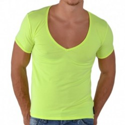 T-Shirt V-Neck Jaune Fluo
