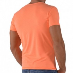 T-Shirt V-Neck Orange Fluo