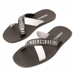 Tape Crossed Flip Flops - Black