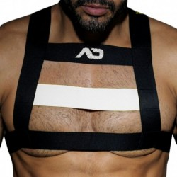 AD Fetish Rubber Harness - Black - White