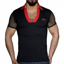 Mesh Sleeve Polo - Black - Red