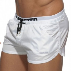 Double Waistband Swim Short - White