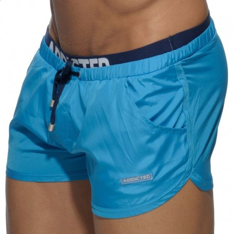 Addicted Short de Bain Double Waistband Turquoise
