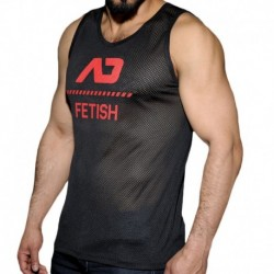 Mesh Tank Top - Black - Red