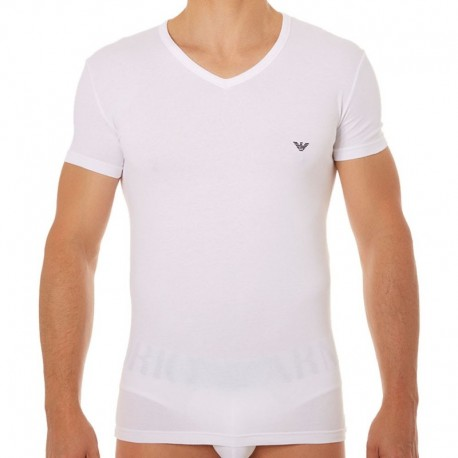 T-Shirt Stretch Cotton Eagle Blanc