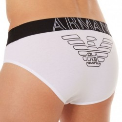 Emporio Armani Slip Stretch Cotton Eagle Blanc