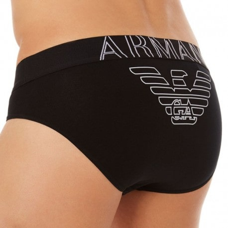 Emporio Armani Slip Stretch Cotton Eagle Noir
