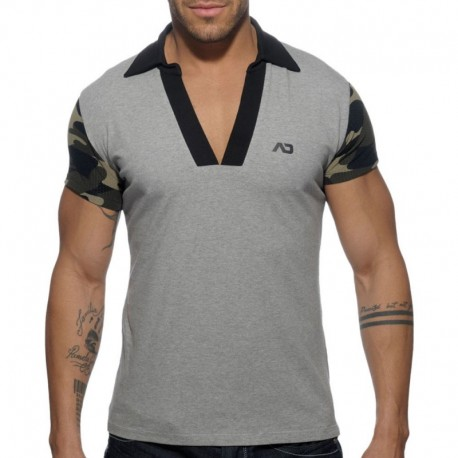 Addicted Polo Détail Camouflage - Gris